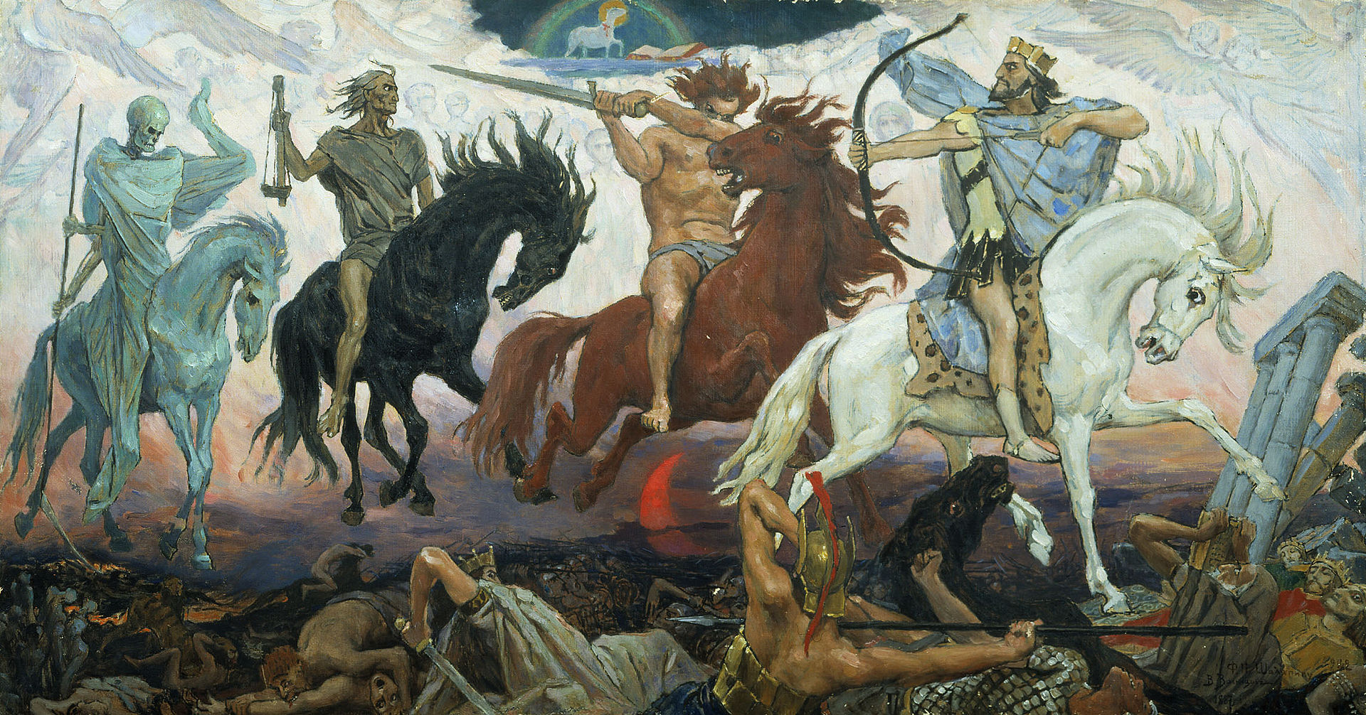 Four Horsemen of the Apocalypse - Conquest, War, Famine & Death, an 1887 painting by Victor Vasnetsov. The Lamb is visible at the top. Credit