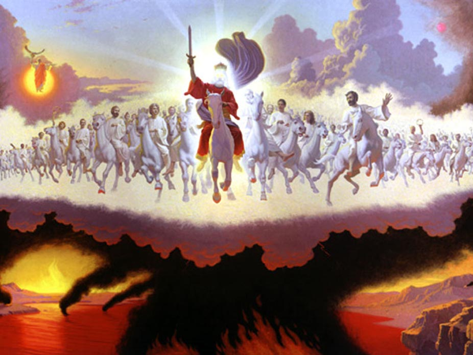 Jesus-Picture-2nd-Coming-On-Horse-In-Clouds-With-Saints