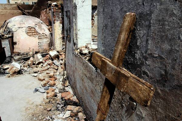 St. John Church in Abnub, south of Cairo, was burned by a mob last week after the military cracked down on two protest camps in Egypt's capital.