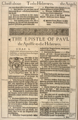 The opening of the Epistle to the Hebrews of the 1611 edition of the Authorized Version shows the original typeface.
