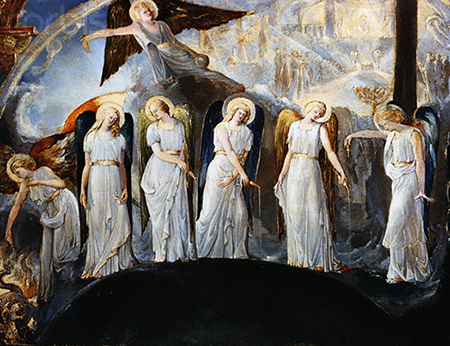 Seven Angels Pouring Vials of the Wrath of God upon the Earth by a British School Painter Influenced by William Blake --- Image by © Burstein Collection/CORBIS